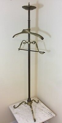 Solid Brass Vintage Tall Coat Rack Valet For Jacket Pants And Coins