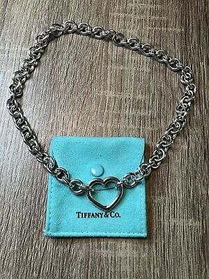 Tiffany & Co. Sterling Silver Heart Clasp Chunky Necklace w/ Box! 16""