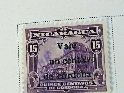 Nicaragua stamps  15 centavos   OVP  Vale  1 ct   1918-19  LH