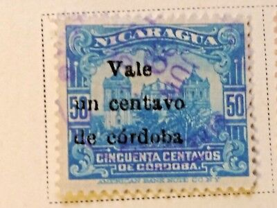 Nicaragua stamps  50 centavos   OVP  Vale  1 ct   1918-19  LH