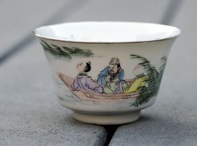 Antique Chinese Famille Rose Porcelain Tea Bowl Republic Period 1918-1940
