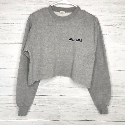 Brandy Melville Gray New York Embroidered Cropped Nancy Sweater Os