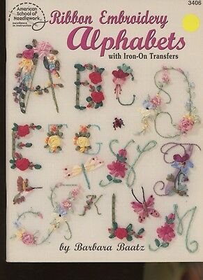 Barbara Baatz Ribbon Embroidery Alphabets booklet with Iron-On Transfers