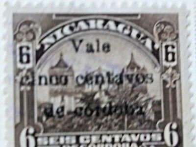 Nicaragua stamps  6 centavos   OVP  Vale  5 ct   1918-19  LH