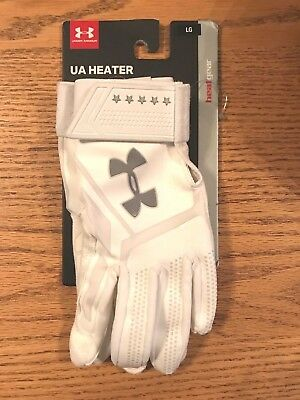 NWT Men's Under Armour HeatGear UA Heater Batting Gloves Large White $39.99