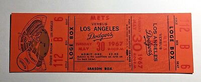 May 30th 1967 Los Angeles Dodgers vs New York Mets Full Ticket - SUTTON