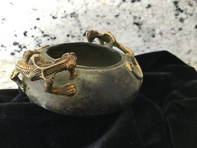 Bronze Brush Rinse Bowl With Two bronze gilded Dragon Handles