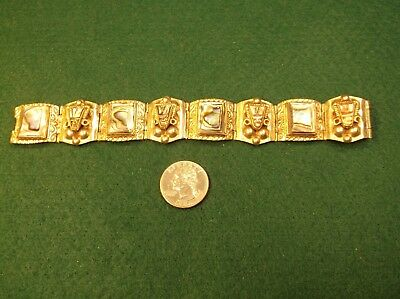 #2 of 2, BEAUTIFUL VTG LADIES MEXICAN SILVER AZTEC PANEL BRACELET, ABALONE MOP!!