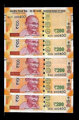 Rs 200/- India Banknote Issue LOW Serial Number Notes GEM UNC ! (000400 X 5)