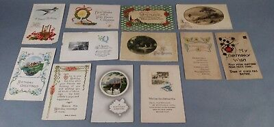 12pc Antique Vintage Lot of Postcards Birthday Day Greetings Some w/ stamps