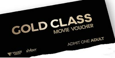 Gold Class Movie Tickets for Adult Event, Village or BCC Vouchers x 2