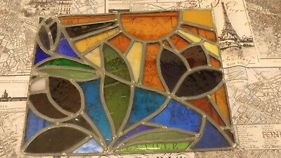 """Vintage Stained Glass Abstract Glass Panel. 11.5""""×9.25"""" Multi Color ."""