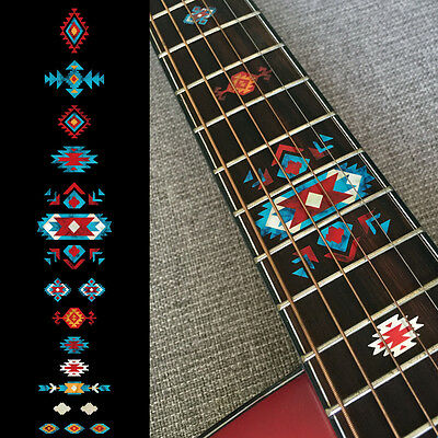 Native American Style Ethnic Fret Markers Inlay Sticker For Guitar (Turquoise)
