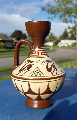 "Vintage Greek Art Pottery Hand Painted 5.5"" Vase/Ewer/Pitcher Antelope Deer"