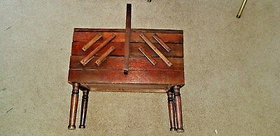 Vintage  Fold Out Accordian Wood Sewing Box Cabinet