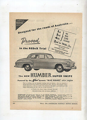 Humber Super Snipe Original Advertisement from a 1954 Magazine