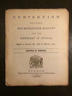 1793 Convention between His Britannick Majesty and Empress of Russia; Booklet
