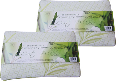 2X Bamboo Memory Foam Cot Bed Pillow Baby Soft Toddler Sleeping Kids Bedding