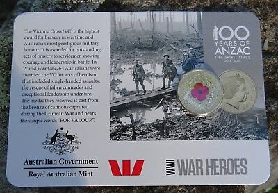 2015 WW1 War Heroes $1 Coloured Red Poppy Coin