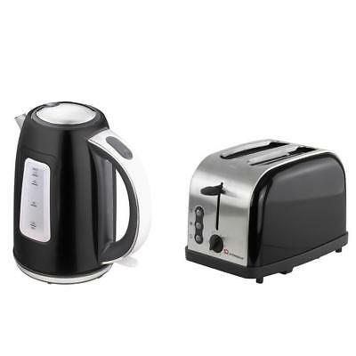 1.7L Cordless Electric Swivel Kettle with Two Slice Wide Slot Toaster Set Black