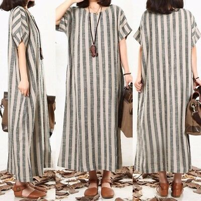 UK STOCK Women Vertical Stripes Shot Sleeve Casual Baggy Long Shirt Dress Plus