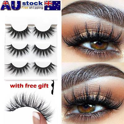 AU Stock 3 Pairs 3D Natural Long Thick Makeup Eyelashes Mink False Eye Lashes