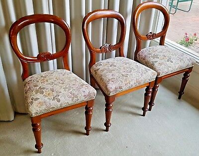 3 Victorian Vintage Antique Balloon Back Carved Dining Chairs ExcellentCondition