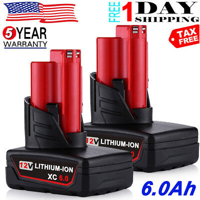 2 x For Milwaukee M12 12 Volt XC 6.0Ah Extended Capacity Lithium 48-11-2460 M12B