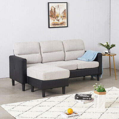 Large Corner Group Sofa 3 Seater Fabric&PU Leather Suites Sette With Footstool