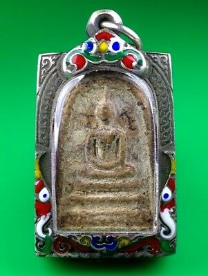 Old Thai Buddha Amulet Magic Powder Phra Somdej Lp Tho Pendant