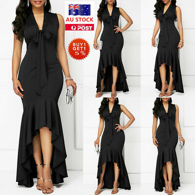 Women Sleeveless Ruffled Maxi Dress Formal Evening Party Cocktail Prom Ball Gown