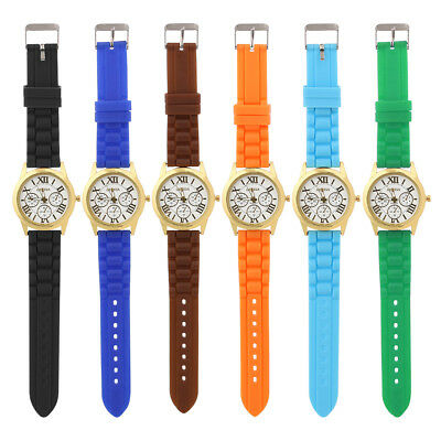 Colorful Casual Women Roman Numerals Quartz Watch Silicone Band Wristwatch