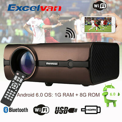 WiFi 4K 3D 1080P Android 6.0 3000 Lux LED Video Projector Home Theater BT4.0 8GB