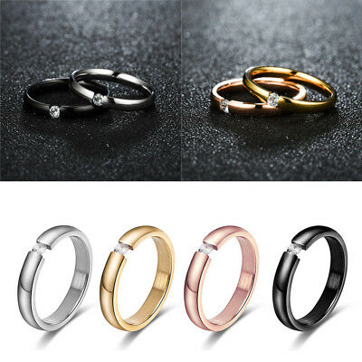 Size 5-13 Women Men Stainless Steel Solid Crystal CZ Wedding Band Couple Ring