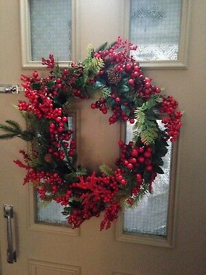 Large 50cm John Lewis red berry berries pine Christmas door twig WREATH