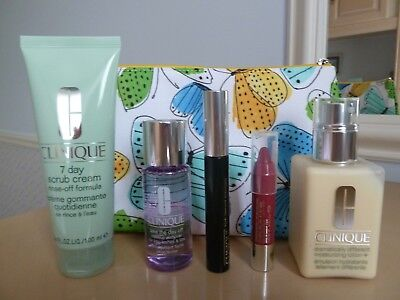 Clinique Cosmetic/Make up Bag & 5 Skin Care/Make up Items (3 Full Size)