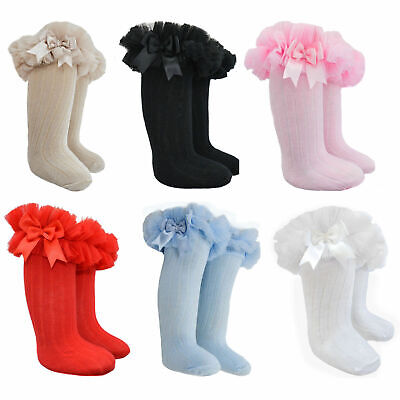 Baby Girls Tutu Knee High Socks Toddlers Spanish Frilly Organza Bow