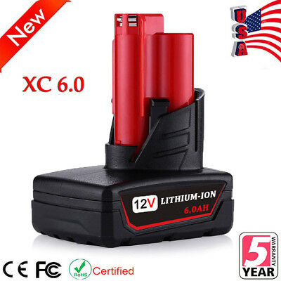 For Milwaukee 48-11-2460 M12 12-Volt XC 6.0 Amp Lithium-Ion Cordless Battery NEW
