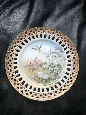 Rare Antique Satsuma hand painted signed plate saucer Japanese pottery oriental