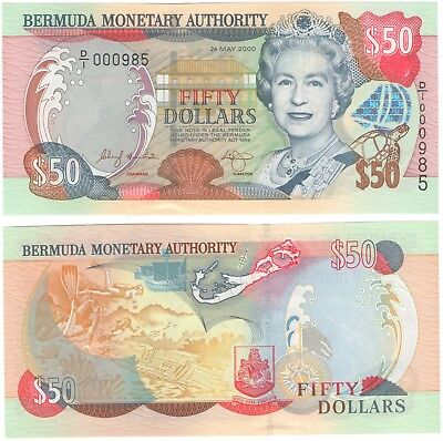 Bermuda 50 dollars 2000 UNC,  excellent condition