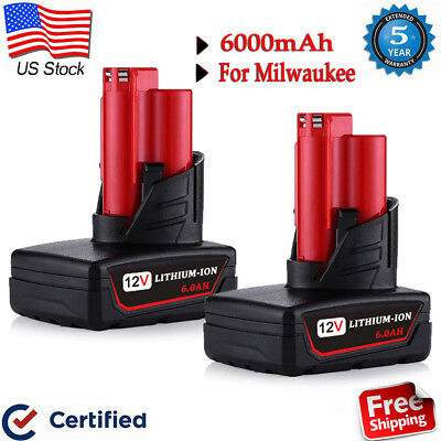 2X 12 V For Milwaukee 48-11-2460 48-11-2412 M12 XC 6.0 LITHIUM ION Battery M12B6