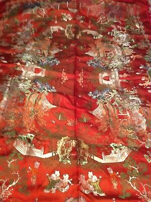 Chinese Red Embroidered Wall Hanging/bed Throw