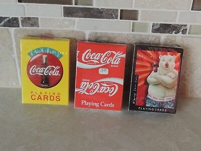 Coca-Cola Playing Cards Lot x3, Labels x2, & Polar Bear- 1994 & 1997-NIP sealed