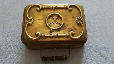 Antique French brass Foot warmer Stoker with art nouveau design. By Girodon Lyon