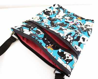 Double zip dog blue Cross body/shoulder/Messenger/lightweight/adjustable strap
