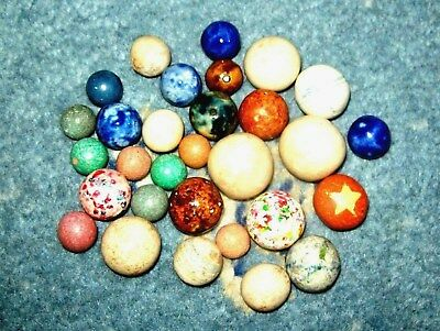 Excellent Collection Of Antique Stone, Clay & Bennington Marbles.
