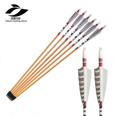 """6PCS 31.5"""" Wooden Arrow White Turkey Feather Vanes for Traditional Bow Hunting"""