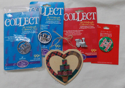 1998 Hallmark Christmas Lapel Pins -Lot of 5-unused
