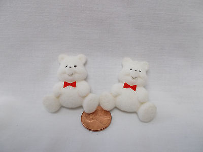 Flocked Teddy Bears-set of 2 -1 1/2 inch tall flat on the back