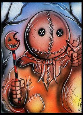 Trick r Treat SAM Original Horror Sketch Card Painting by Bianca Thompson